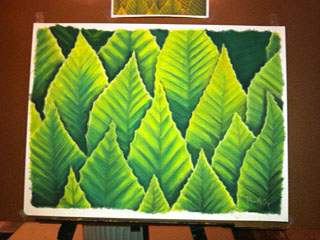 A large 18x24 of some Beech leaves. On white watercolor paper.