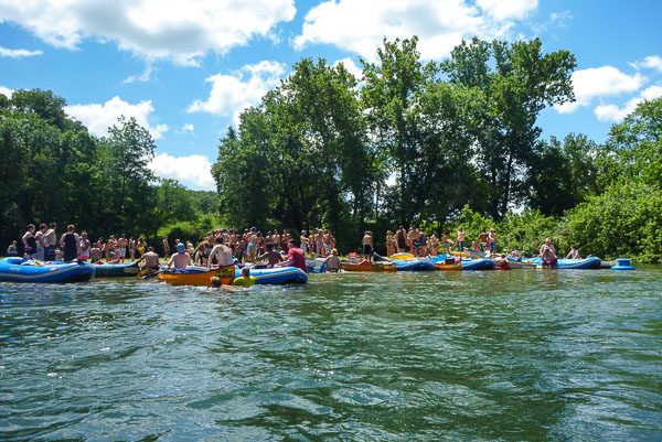 We knew we were near the confluence with the Elk River when we started hearing the yelling and boom boxes. The sheer quantity of partiers was mind blowing and so was the transition from one river to the other.
