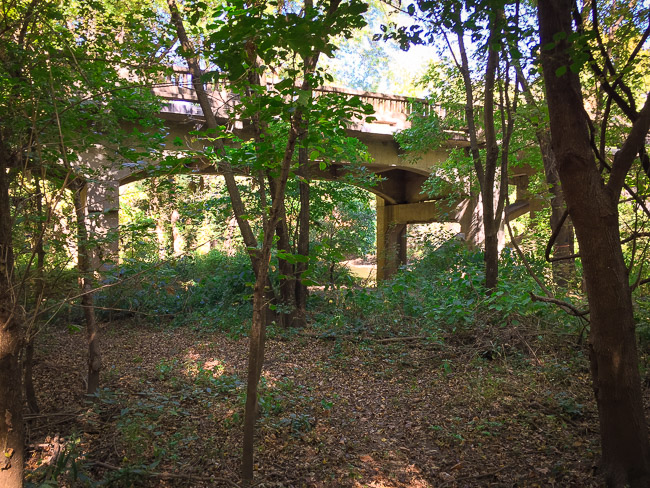 The trail passes under and along some neat old bridges on Garrison Ave that are elevated above the flood plain.  I remember enjoying crossing these bridges on the way to my grandparents house when I was a kid!