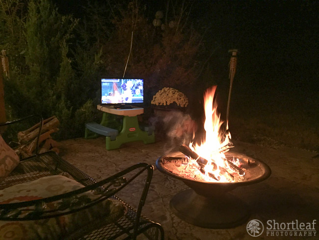 This photo has nothing to do with foliage, but it was a  fun activity we enjoyed this October... bringing the tv outside to watch the Royals in the World Series by the fire pit.